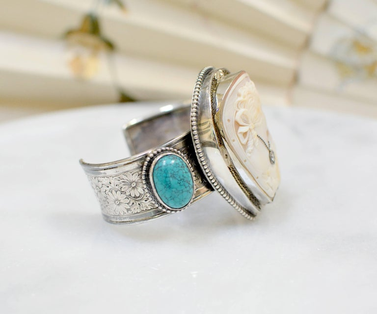 Jill Garber Fine Antique Horseshoe Cameo with Diamond and Turquoise Bracelet For Sale 1