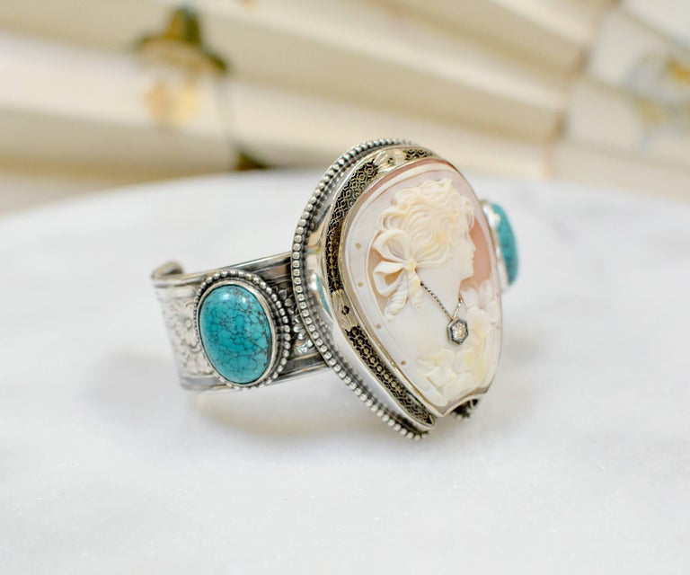Jill Garber Fine Antique Horseshoe Cameo with Diamond and Turquoise Bracelet For Sale 2