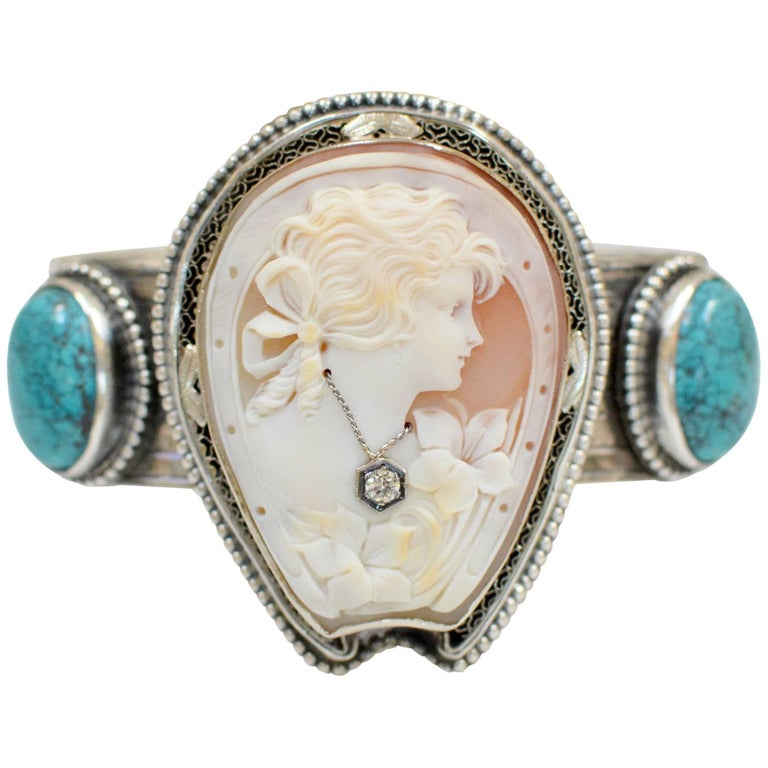 Jill Garber Fine Antique Horseshoe Cameo with Diamond and Turquoise Bracelet For Sale