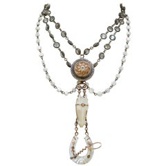 Jill Garber Love Token Necklace with Rare Carved Antique Mother-of-Pearl Horse