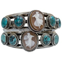 Jill Garber Pair Victorian Goddess Cameo Modern Cuff Bracelets with Turquoise
