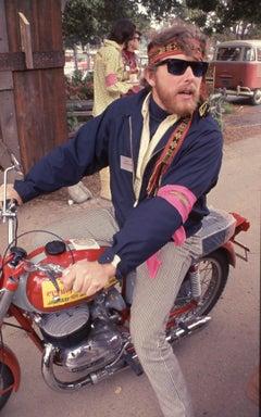 Hippie Riding Motorcycle, Monterey Pop Festival Fine Art Print