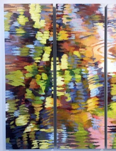 """Echo 1"", Pair of Impressionist Style Oil Painting on Canvas, Waterscape Diptych"
