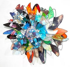 Large Colorful Wall Sculpture by Jill King - Helix