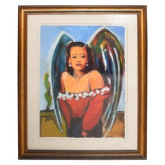"Jill Logan Female ""ANGEL"" Painting Vibrant Magical Color Todos Santos Art Mexico"