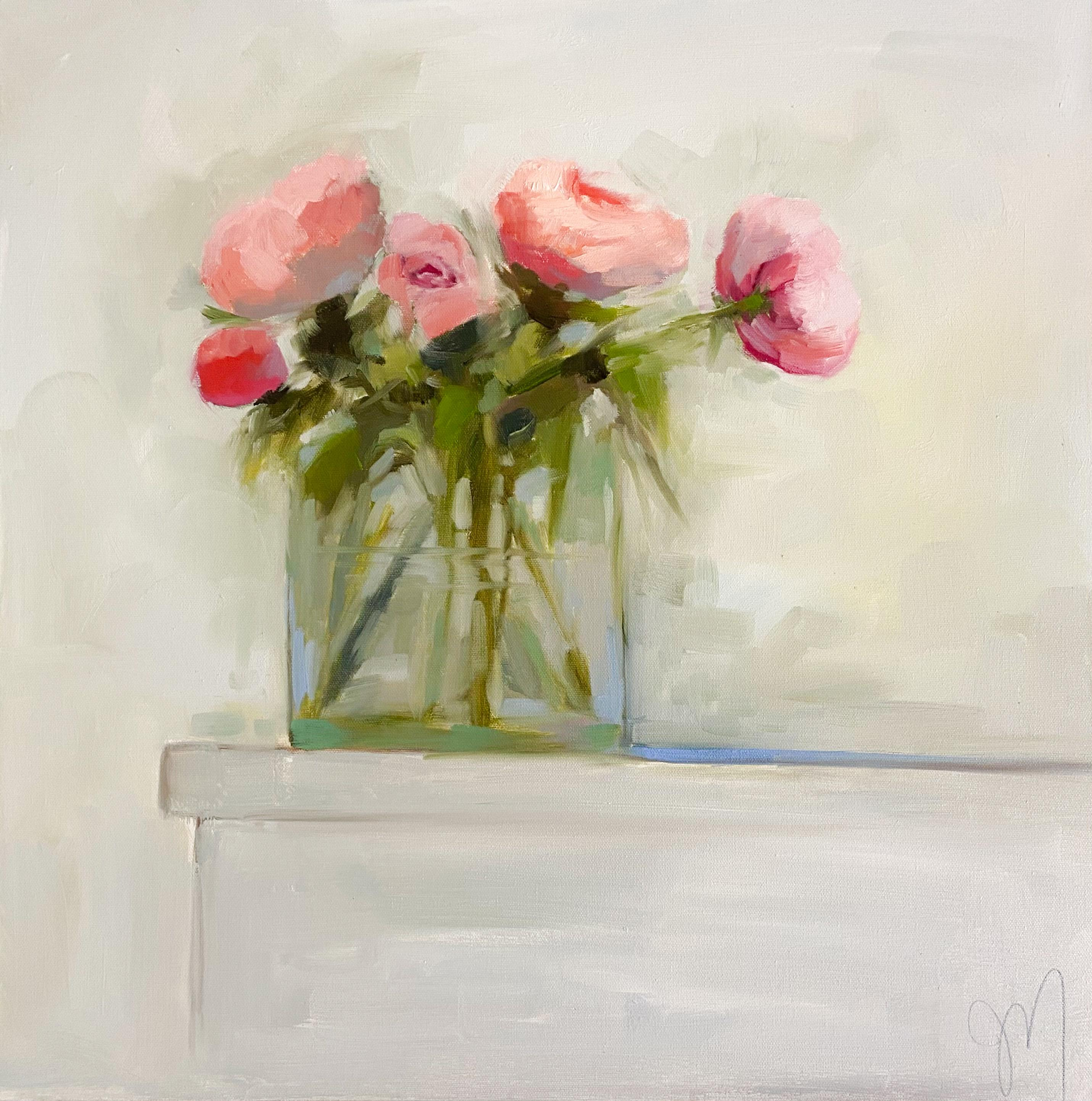 """""""Pink Peonies and Bud"""" impressionist style oil painting of pink peonies in vase"""