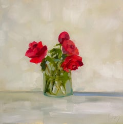 """""""Reds"""" impressionist style oil painting of a bouquet of red roses in glass vase"""