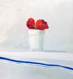 """""""Reds on White, French Blue Linen"""" oil painting of red flowers in a white pot"""