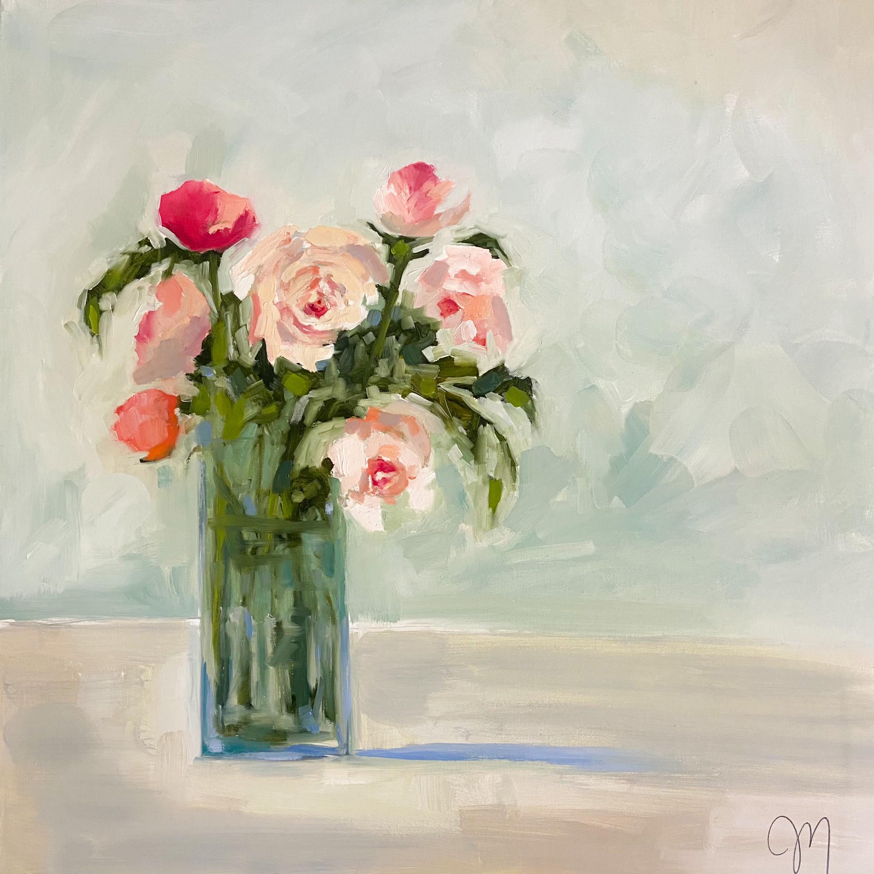 """""""Seven Roses"""" impressionist style painting of pink roses in a tall glass vase"""