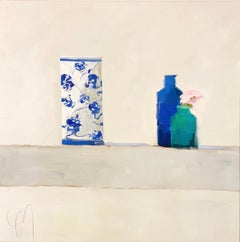 """""""Space Between"""" impressionist style painting of blue china vase next to a flower"""