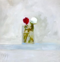 """White Peony Bud"" Impressionist style oil painting of white and red peonies"