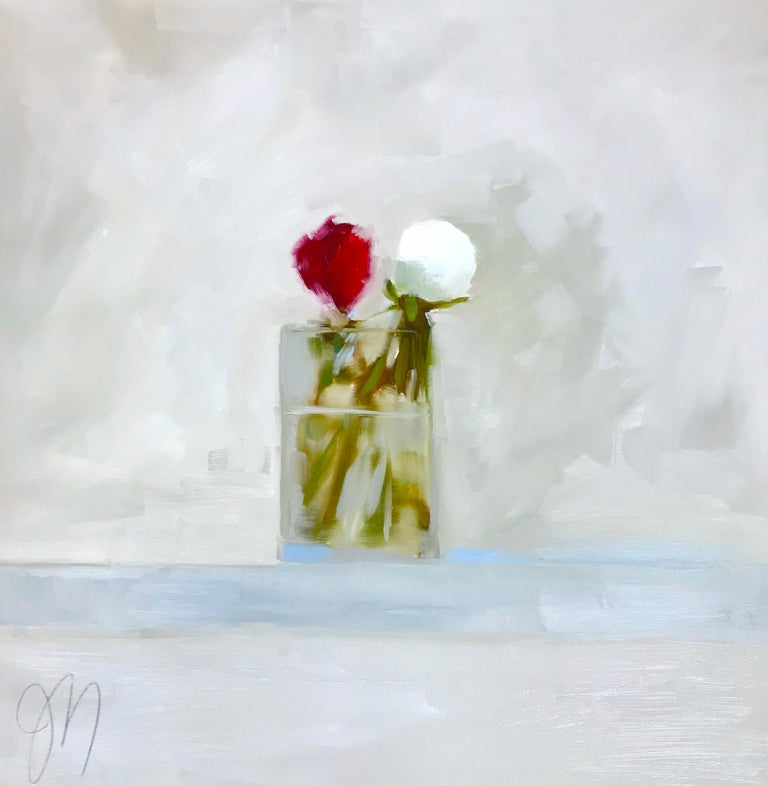 """Jill Matthews Still-Life Painting - """"Two Peony Bud"""" Impressionist style oil painting of white and red peonies"""