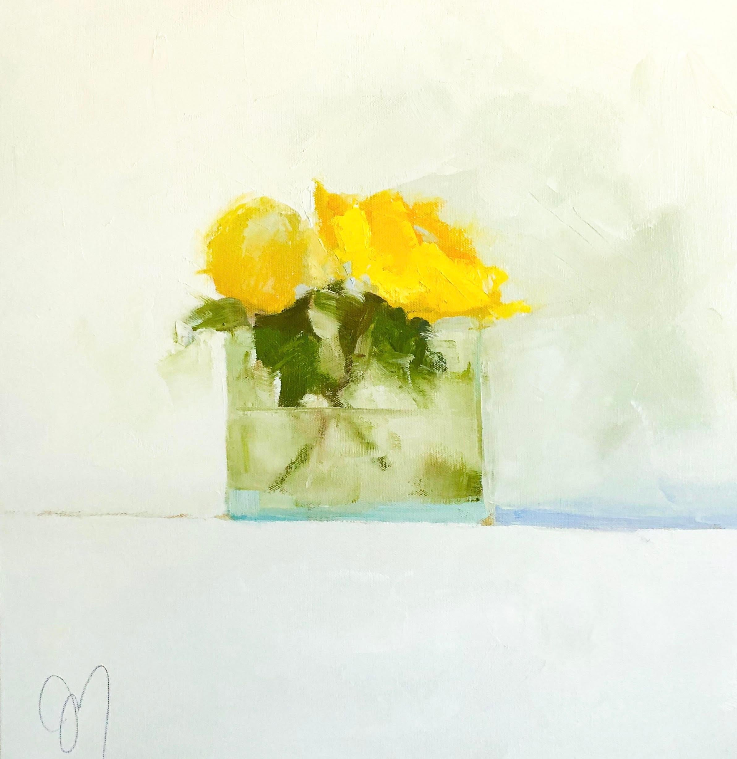"""""""Yellows"""" Impressionist style oil painting of yellow flowers in a glass vase"""