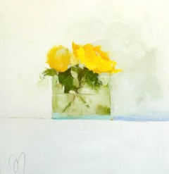 """Yellows"" Impressionist style oil painting of yellow flowers in a glass vase"