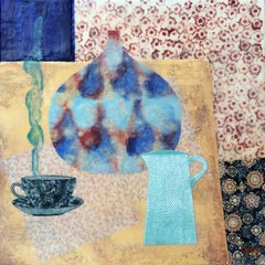 """Indian Infusion"" encaustic painting on board still life tea cup jug pot blue"