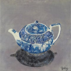 """My Old Dutch"" encaustic painting on board still life collage teapot blue grey"