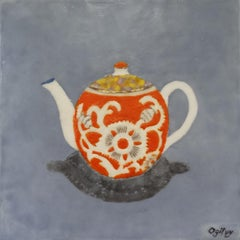 """Orange Pekoe"" encaustic painting on board still life teapot orange white gold"