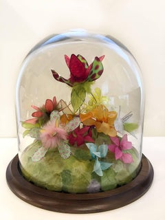 Mallard and Claret, Bright Colorful Dyed Floral Sculpture Tabletop Terrarium