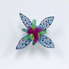 Sexy Sea Creature, Bright Colorful Dyed Floral Drawing Wall Hanging Sculpture