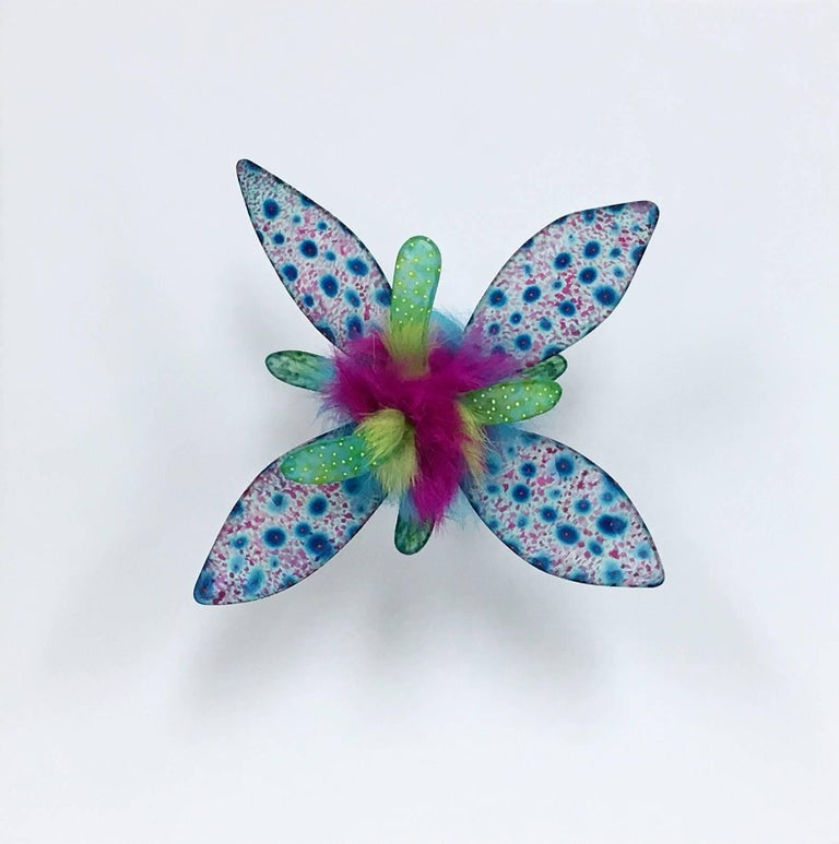 Sexy Sea Creature, Bright Colorful Dyed Floral Drawing Wall Hanging Sculpture - Mixed Media Art by Jill Parisi