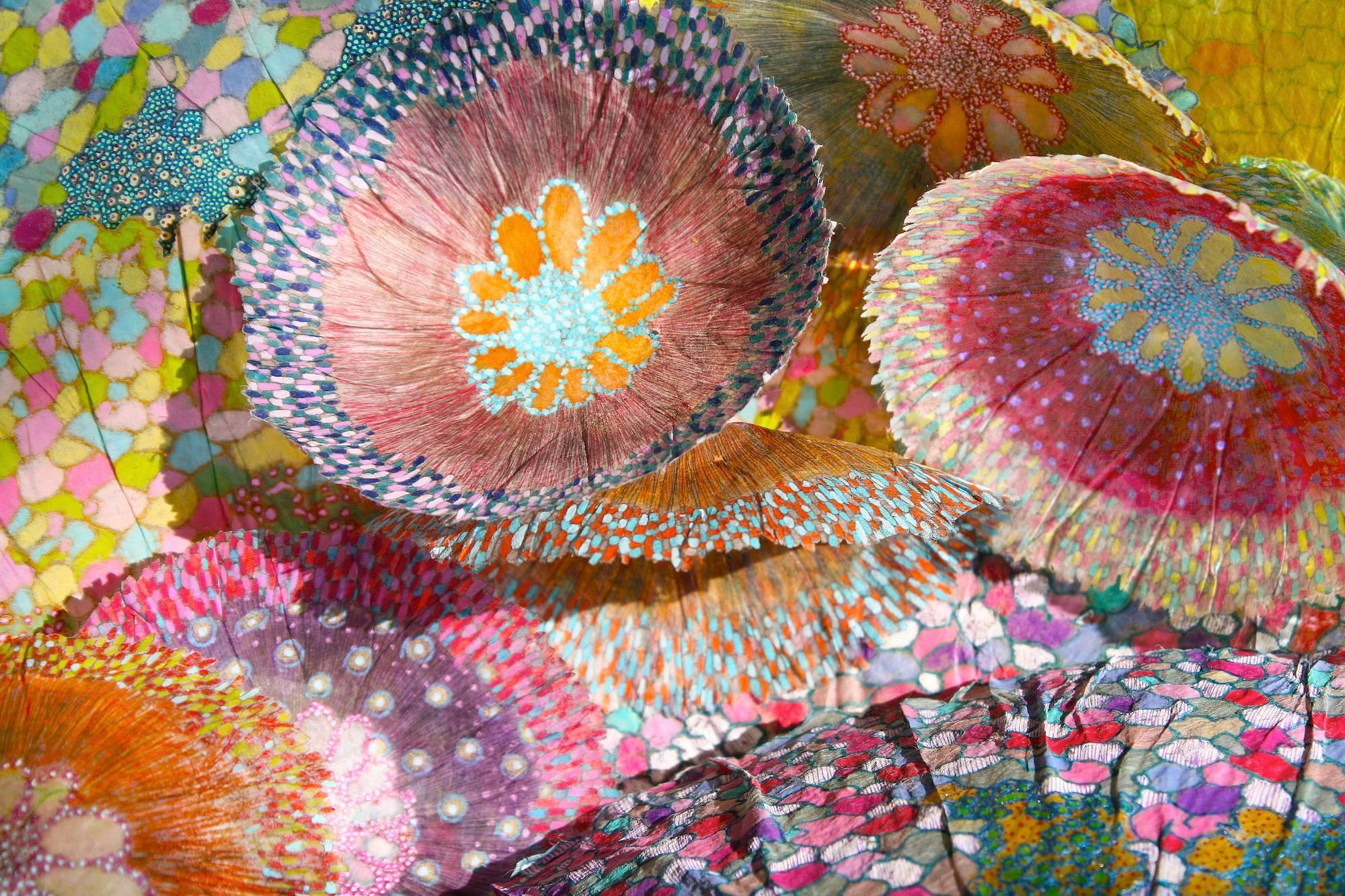 Cascade II, Bright Botanical Print on Aluminum, Pink, Blue, Green Floral Shapes