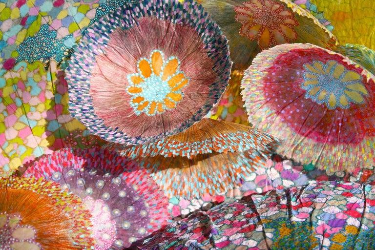 Jill Parisi Abstract Print - Cascade II, Bright Botanical Print on Aluminum, Pink, Blue, Green Floral Shapes