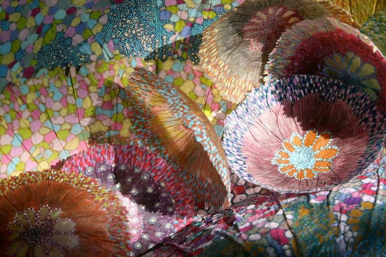 Jill Parisi Abstract Print - Cascade I, Bright Botanical Print on Aluminum in Pink, Orange, Yellow, Teal