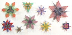Spinney Stars, Pinned Paper Flowers in Red, Pink, Green, Purple, Yellow