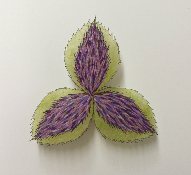 Jill Parisi Abstract Print - Thistle Trillium, Framed Pinned Paper Flower in Light Green, Purple, Violet