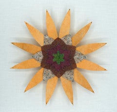 Earth and Sky Star, Colorful Botanical Paper Wall Sculpture in Light Orange