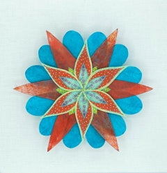 Fanfare Star, Colorful Botanical Paper Wall Sculpture in Bright Teal Blue, Red