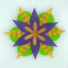 Kaleidoscopic Star, Colorful Botanical Wall Sculpture, Yellow, Purple, Green
