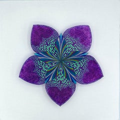 Resplendent Star, Colorful Botanical Wall Sculpture in Bright Purple, Teal Blue