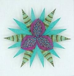 Trillium Star, Colorful Botanical Paper Wall Sculpture, Teal Blue, Purple, Green