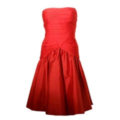 JILL RICHARDS Red Strapless Jersey & Taffeta Dress with Black Crinoline 1980's