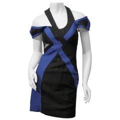 Jill Stuart Size 0 Blue Black Color Block Cutout  Dress
