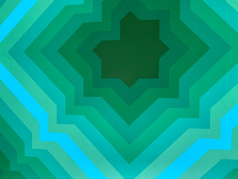 Jim Bird - tribute to Vasarely 1 - Blue Abstract Painting by Jim Bird