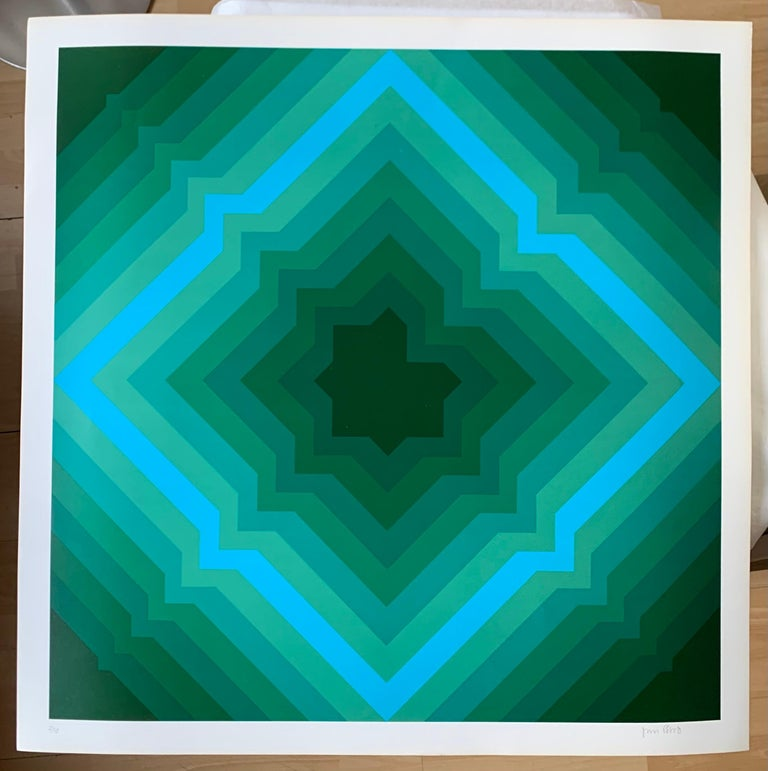 Jim Bird - tribute to Vasarely 1 - Painting by Jim Bird