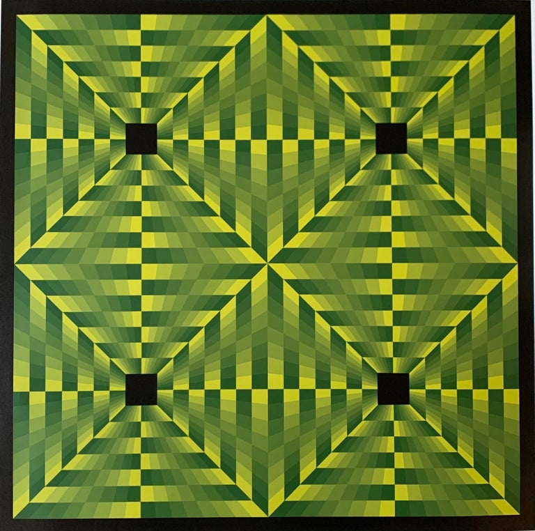 Jim Bird - tribute to Vasarely 16 - Green Abstract Painting by Jim Bird
