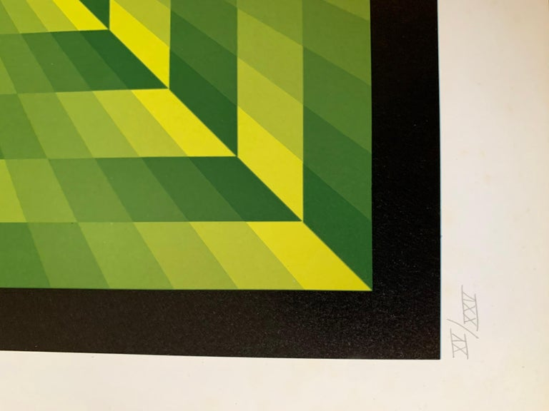Jim Bird - tribute to Vasarely 16  Photolithography 1972 Signed and numbered 58/75 Paper size : 68x68 Image size : 61x61  Perfect condition  Published by Poligrafa, Barcelona  290€