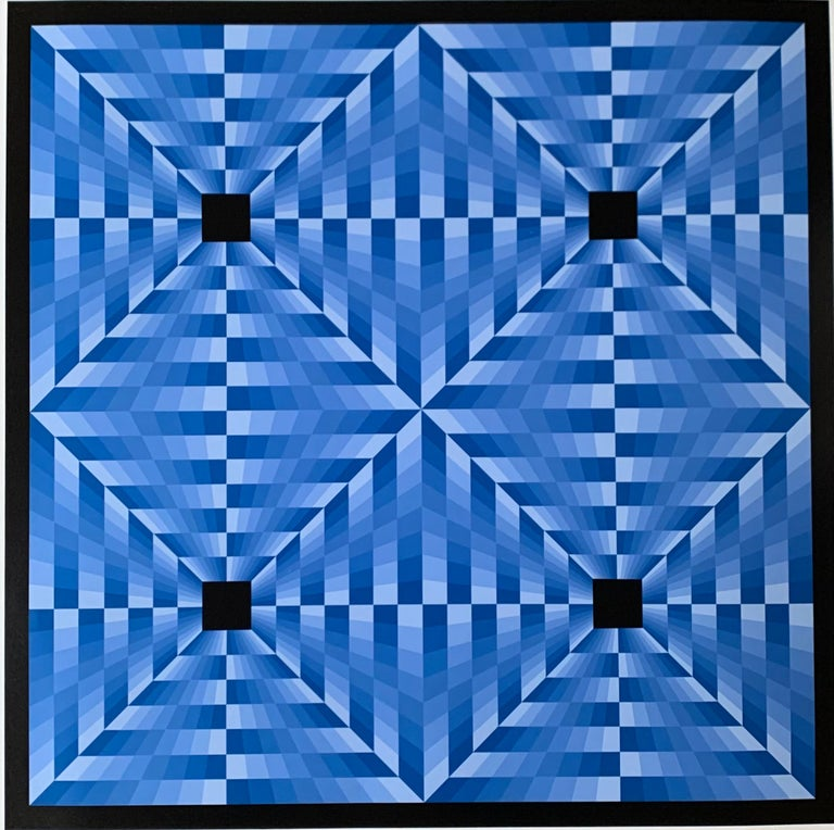 tribute to Vasarely 6 blue  - Painting by Jim Bird