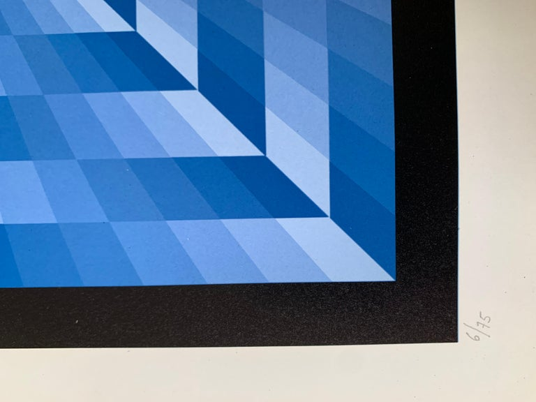 tribute to Vasarely 6 blue  - Blue Abstract Painting by Jim Bird