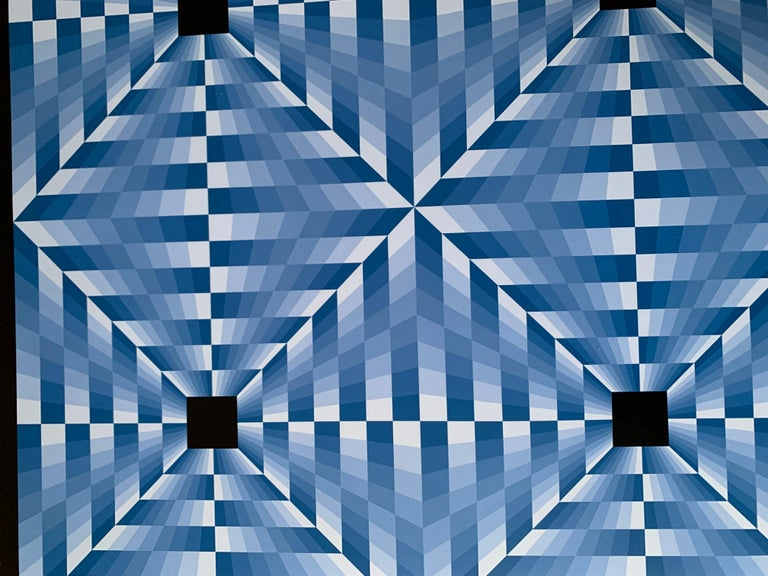 tribute to Vasarely 6 blue  For Sale 1