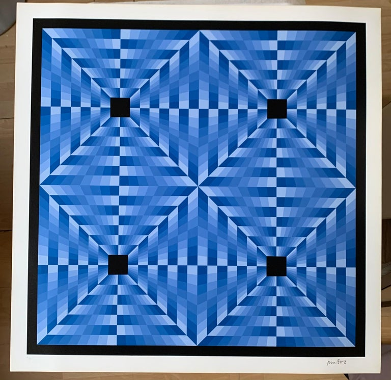 Jim Bird Abstract Painting - tribute to Vasarely 6 blue