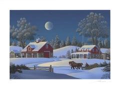1988 Jim Buckels 'Winterset Farm' Contemporary White,Multicolor USA Serigraph