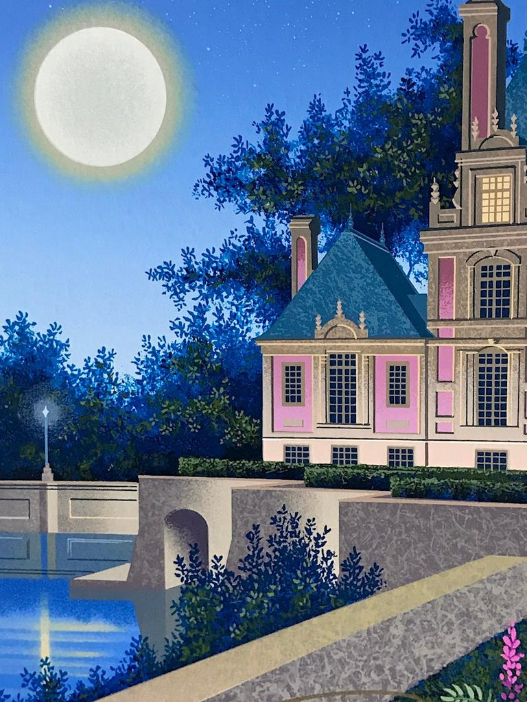 AURORA'S GARLAND Signed Serigraph, Châteauesque Architectural Landscape, Moon - Print by Jim Buckels