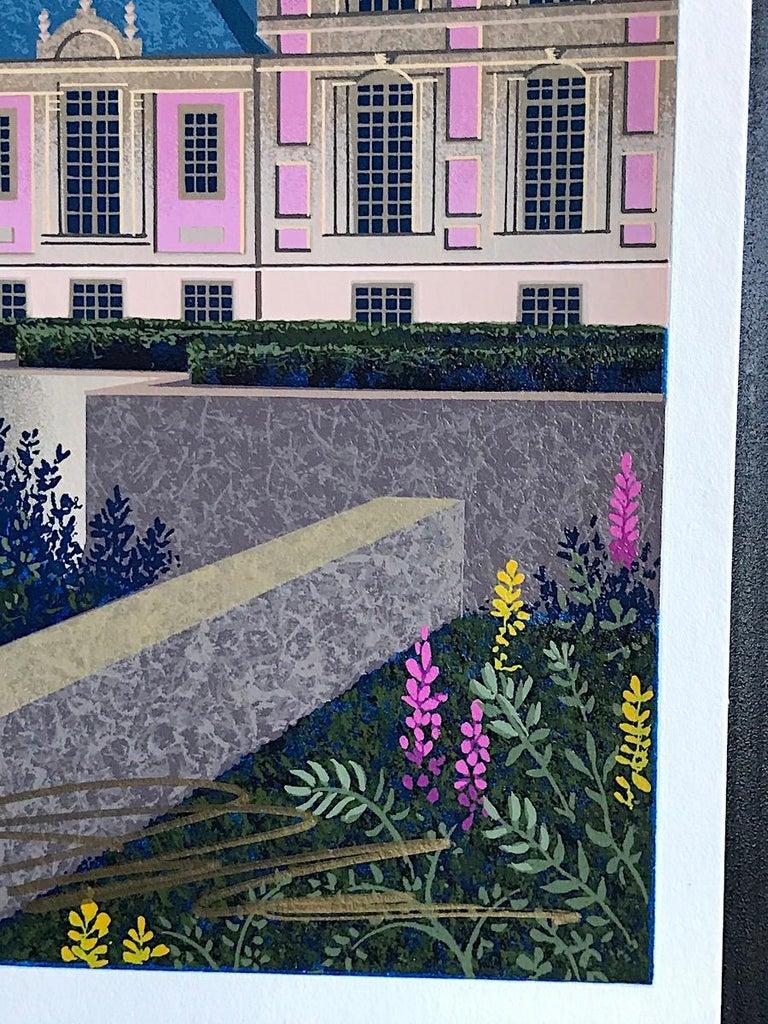 AURORA'S GARLAND Signed Serigraph, Châteauesque Architectural Landscape, Moon - Blue Landscape Print by Jim Buckels