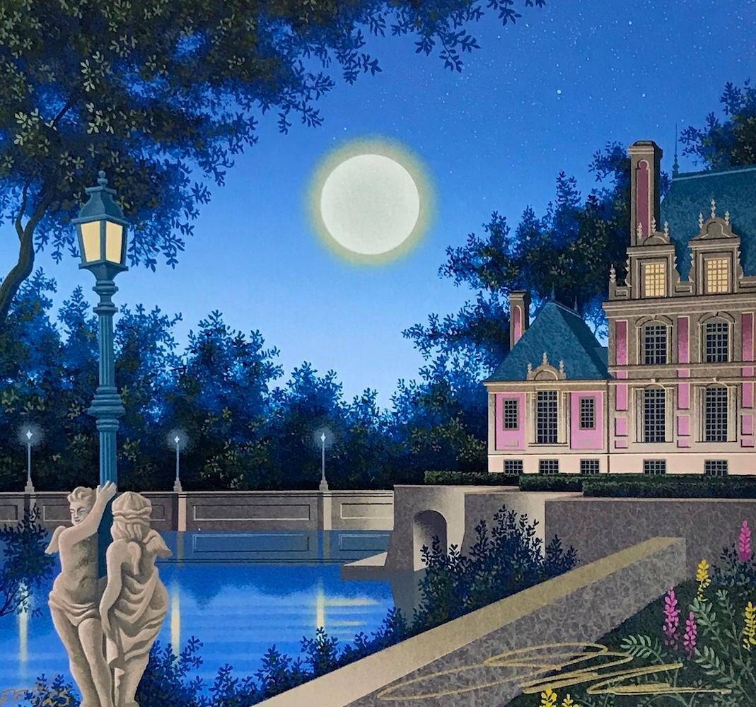 AURORA'S GARLAND Signed Serigraph, Châteauesque Architectural Landscape, Moon