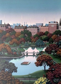 BOSTON PUBLIC GARDEN, Signed Hand Made Lithograph, Architectural Landscape