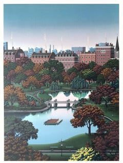 BOSTON PUBLIC GARDEN, Signed Lithograph, Architectural Landscape, Boston Park